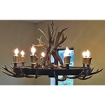 Wagon Wheel Antler Chandelier