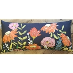 NAVY FLORAL KIDNEY PILLOW
