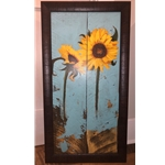 SUNFLOWERS ON WOOD I