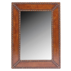 Nail head Leather Mirror