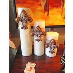 Cream Fleur De Lis Candle Set of 3