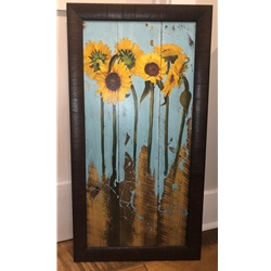 SUNFLOWERS ON WOOD III