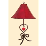 RED SHADE & HEART LAMP