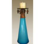 "19"" Cone Glass Cross Candle Holder"